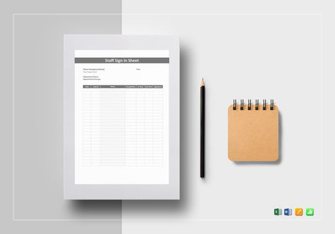 Staff Sign in Sheet Template $12 Formats Included  MS Excel, MS - sign in sheet templates