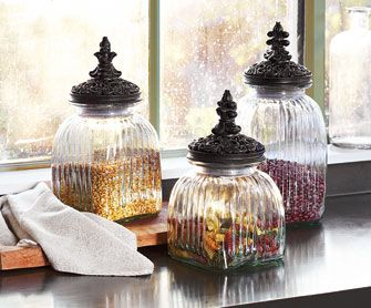 Le Marche Kitchen Canisters These Ornate, Ridge Textured Glass Canisters  Are Inspired By Classic French Candy Jars. Designed For Storing Beans, Pau2026