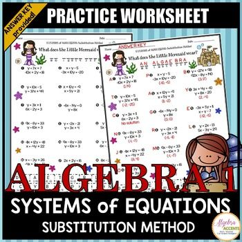 Solving Systems Of Equations Using The Substitution Method Practice Riddle Systems Of Equations Equations System