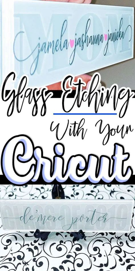 Learn how to etch glass for beautiful gifts and home decor projects. Find out how your Cricut to create stencils for glass etching. Cricut VINYL Crafts Learn how to etch glass for beautiful gifts and home decor projects. Find out how your Cricut Cricut Craft Room, Cricut Vinyl, Cricut Stencils, Cricut Air, Cricut Fonts, Stencil Diy, Stenciling, Circuit Projects, Vinyl Projects