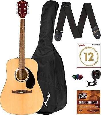 Fender Fa 125 Dreadnought Acoustic Guitar Natural Bundle Guitar Acoustic Guitar Acoustic Music