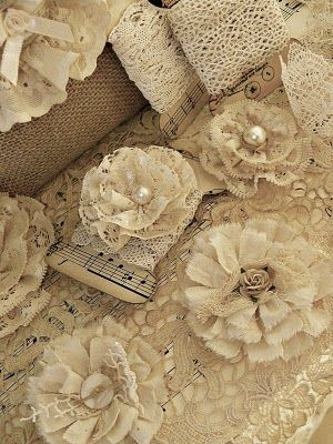 pretty lace fabric flowers A Shabby Chic inspired blog.