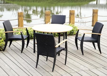 Weathered Gray Eucalyptus Wood Patio Dining Set Round Glades