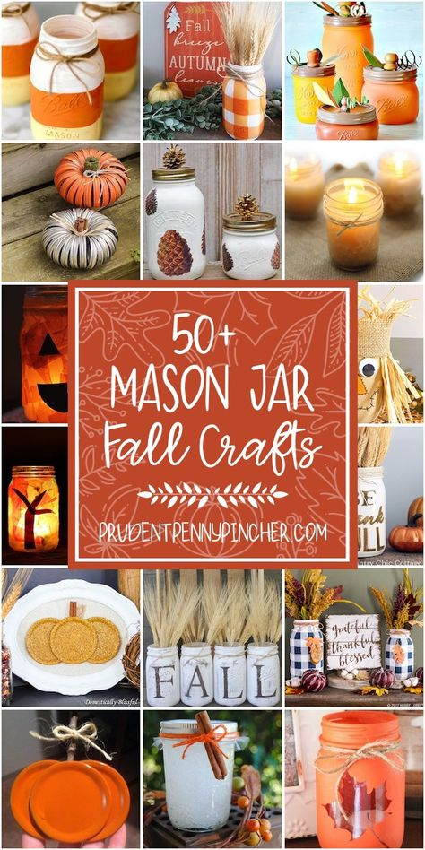 50 Mason Jar Fall Crafts - - Get crafty with these creative mason jar fall crafts. From leaf luminaries to mason jar fall centerpieces, there are plenty of fun crafts for inspiration. Pot Mason Diy, Fall Mason Jars, Mason Jar Gifts, Mason Jar Fall Crafts, Mason Jar Thanksgiving Centerpieces, Mason Jar Pumpkin, Wedding Centerpieces Mason Jars, Jar Crafts, Kids Crafts