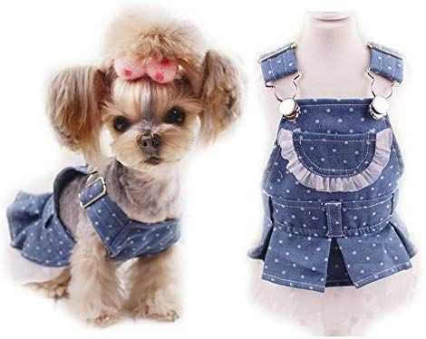 Amazon Com Cute Denim Dog Puppy Princess Party Dress Small Dog Cat Pet Luxury Tutu Dress Skirt Yorkshire Summer Do Dog Summer Clothes Denim Dog Puppy Clothes