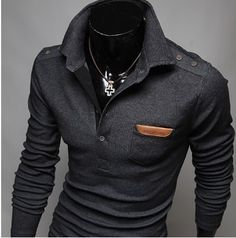 Vska Mens Patched Knit Hit Color Crew-Neck Long-Sleeve Knitwear