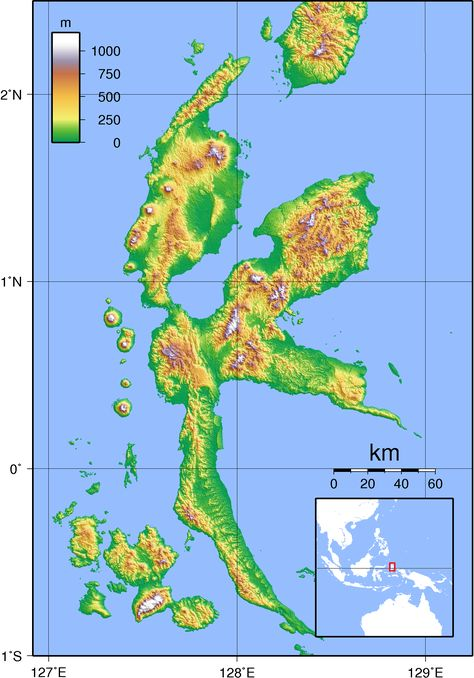 Pacific Ocean Topographic Map.Topographic Map Of Halmahera Indonesia Medium Maps Pinterest