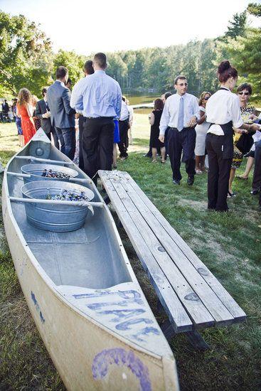 Camp Wedding Ideas - a canoe for ice buckets!