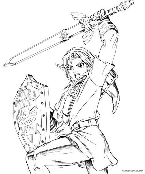 Legend Of Zelda Link Coloring Pages: Free Printable Zelda Coloring ...
