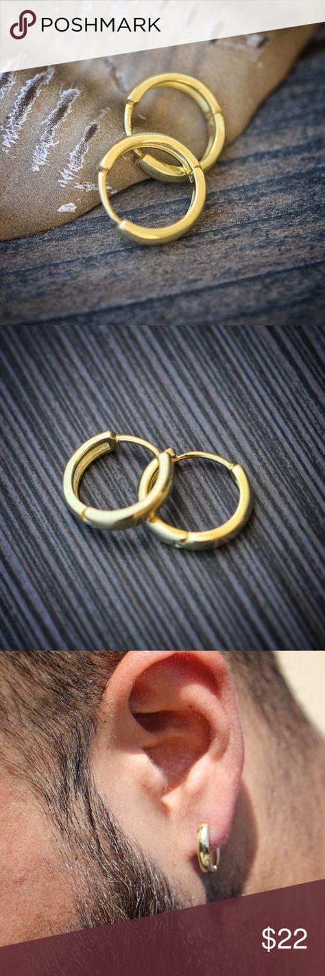 925 Sterling Silver Men S Gold Hoop Earrings 10mm 925 Sterling Silver Men S Gold Hoop Earrings Size Mens Gold Hoop Earrings Hoop Earrings Gold Chains For Men