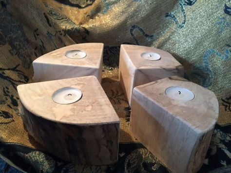 Beech Tealight Tea Light Candle Holder Holds 4 by Thewoodroomuk