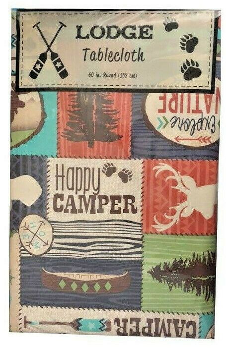 Vinyl Tablecloth Flannel Backed 60 Round Camping Camper Lodge Woods Rv Cabin Elrene In 2020 Vinyl Tablecloth Table Cloth Vinyl