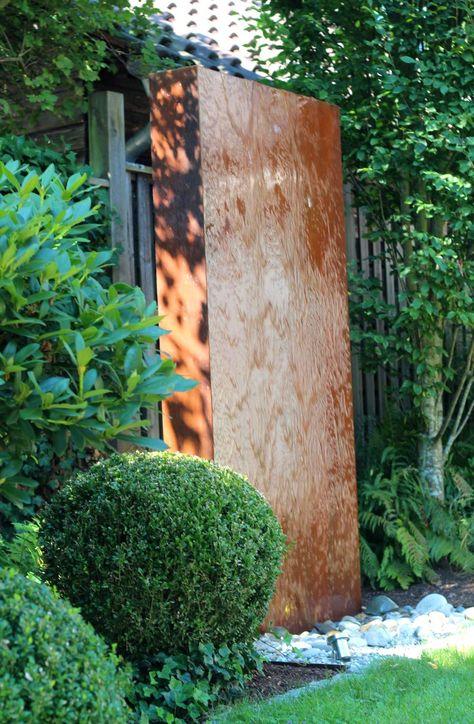 Cortenstahl Wasserwand 200 Gartenbrunnen im modernen Edelrost - gartenbrunnen modernes design
