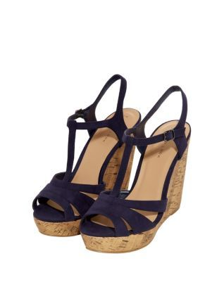 Navy (Blue) Navy Suedette T-Bar Cork Wedges | 303822841 | New Look