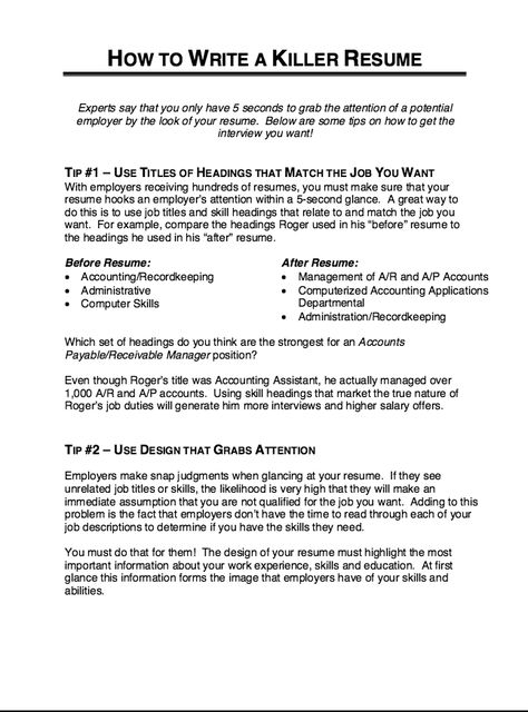 How To Write A Killer Resume -    resumesdesign how-to - accounting assistant job description