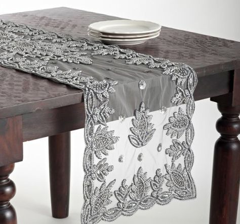 Elegant Lakshmi Hand Beaded Pewter Table Runner 16 X72