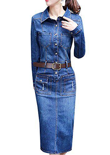 fdc3f81181 Abito Da Donna Vestito Di Jeans Casual Abito Lungo Jeans Manica ...