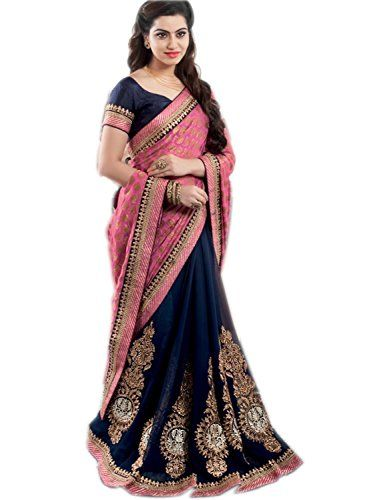 eefa3a056b This saree comes with Row Silk Blouse Piece which make its style double.  Fabric :Viscose, Color : Navy Blue, Blouse fabric:silk