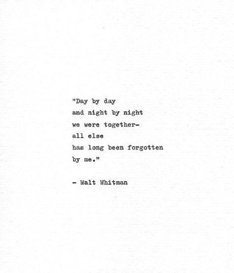 Walt Whitman Hand Typed Quote 'We Were Together' Vintage Typewriter Print Letterpress Quote 'Leaves
