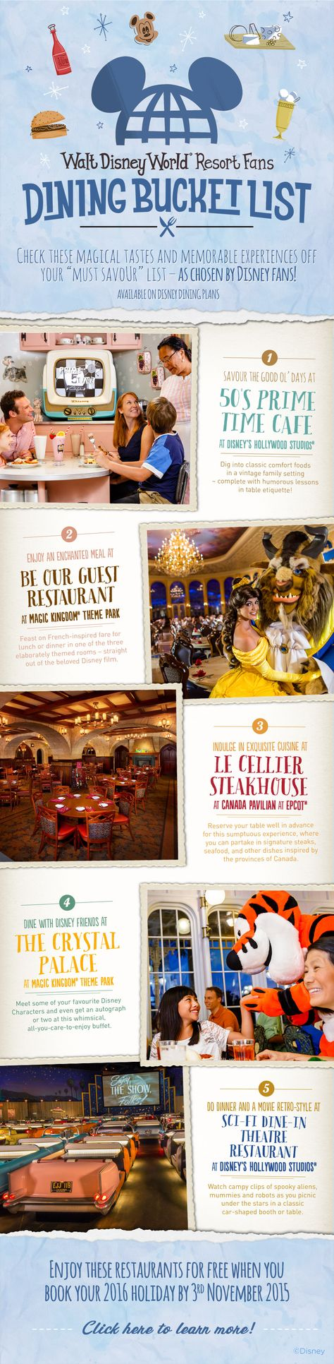 Check out fan-favorite dining locations at Walt Disney World! From Disney's Hollywood Studios to Magic Kingdom Park, there's a dining option for everyone in your family!