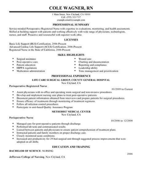 Best Perioperative Nurse Resume Example Livecareer Best Best Perioperative Nurse Resume Examp Nursing Resume Nursing Resume Template Teacher Resume Examples