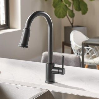 Indi One Handle Pulldown Kitchen Faucet Matte Black 87090bl Moen Kitchenfaucetmatteblack Modern Kitchen Faucet Kitchen Faucet Pulldown Kitchen Faucets