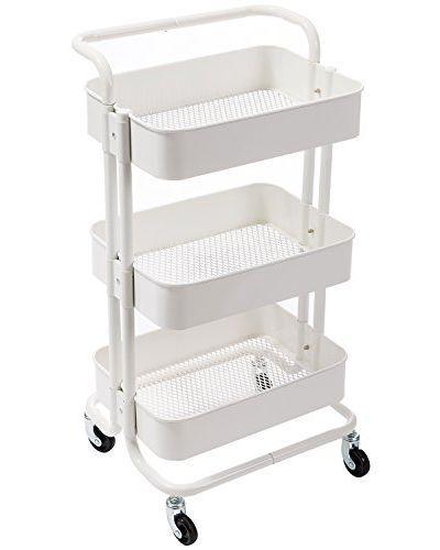 Amazon Com Alvorog 3 Tier Rolling Utility Cart Storage Shelves Multifunction Storage Trolley Service Cart W Rolling Utility Cart Movable Storage Utility Cart