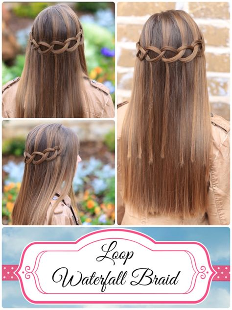 Loop Waterfall Braid.  LOVE IT!  Add a braid or ponytail at the end for extra security.  #hairstyles #hairstyle #waterfallbraid #briad #cutegirlshairstyles