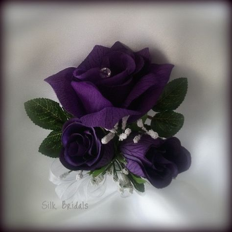 Wrist Corsage Purple Roses Silk Wedding Flowers Mother Grandmother bridal. $6.99, via Etsy.