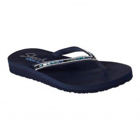 Skechers Meditation Desert slippers dames navy De Wit