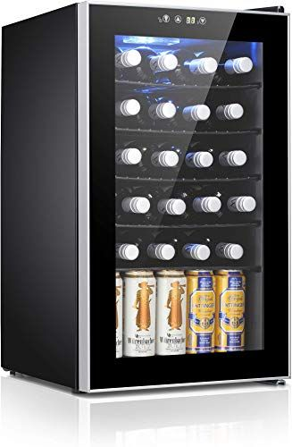 New Antarctic Star 24 Bottle Wine Cooler Cabinet Beverage Refigerator Small Wine Cellar Soda Beer Counter Top Bar Fridge Quiet Operation Compressor Digital Free In