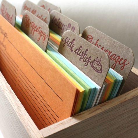 Letterpress Recipe Cards and Recipe Box