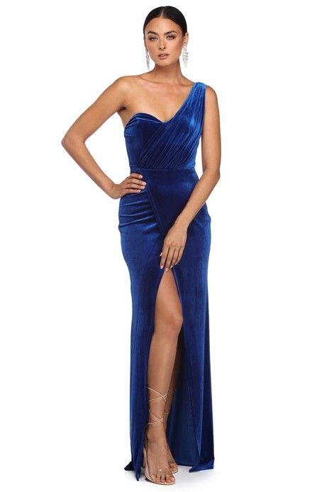 Alejandra Royal One Shoulder Velvet Dress   Velvet dress long, Bridesmaid  dresses long chiffon, Pink bridesmaid dresses long