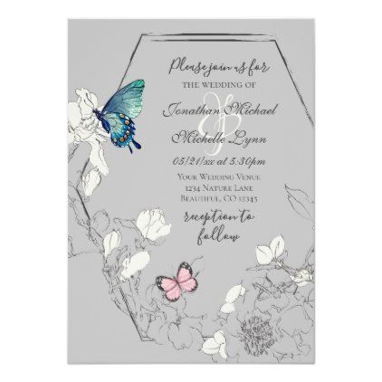 Watercolor Butterfly And Flower Geometric Wedding Invitation Zazzle Com Geometric Wedding Invitation Butterfly Wedding Invitations Wedding Invitations