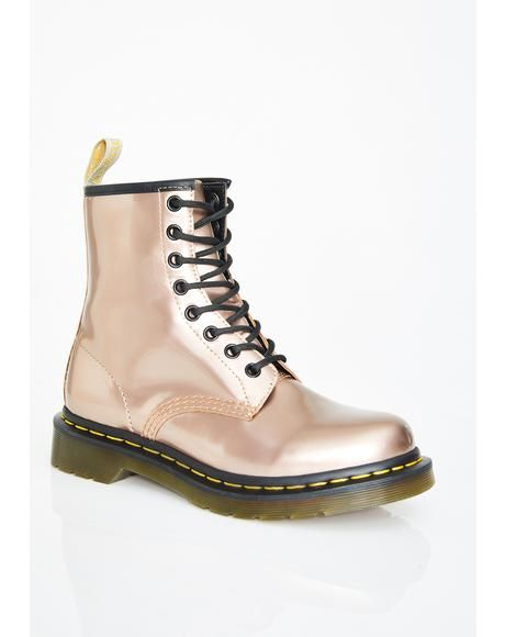 Dr. Martens 1460 Vegan rose gold chrome Boots | ONYGO