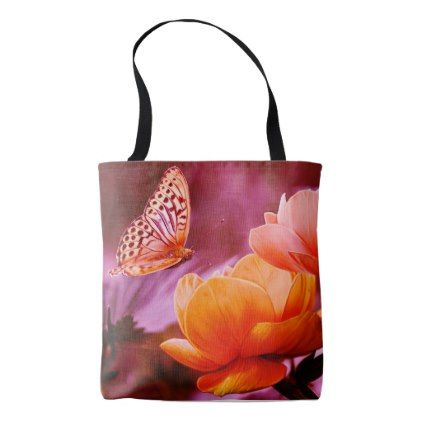 All Over Print Tote Bag Bright Butterfly Flowers Zazzle Com
