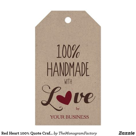 Network Heart 100% Quote Craft Articles Handmade Gift Tags