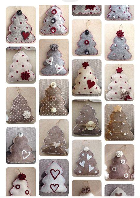 Handmade Felt Christmas Tree Ornaments of your choice, hanging or self standing  #natale #christmasclothespin #decoratedtree #hangingtree #handmadetree #feltchristmastree #doorhanger