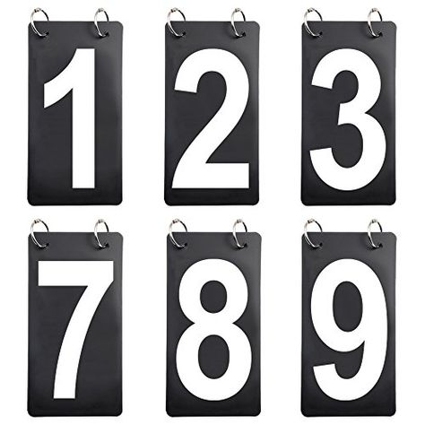 GOGO 6 Sets Score Reporter Number Flip Chart for Scoreboard 0-9 Replacement Cards