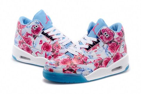 promo code d6974 0acd0 Basketball Playoffs  basketballplayoffs. Air Jordan Womens 3 Floral Blue  Custom  BasketballPlayers