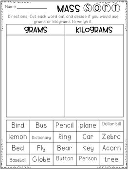 Metric Mass Grams And Kilograms Worksheets 2nd Grade