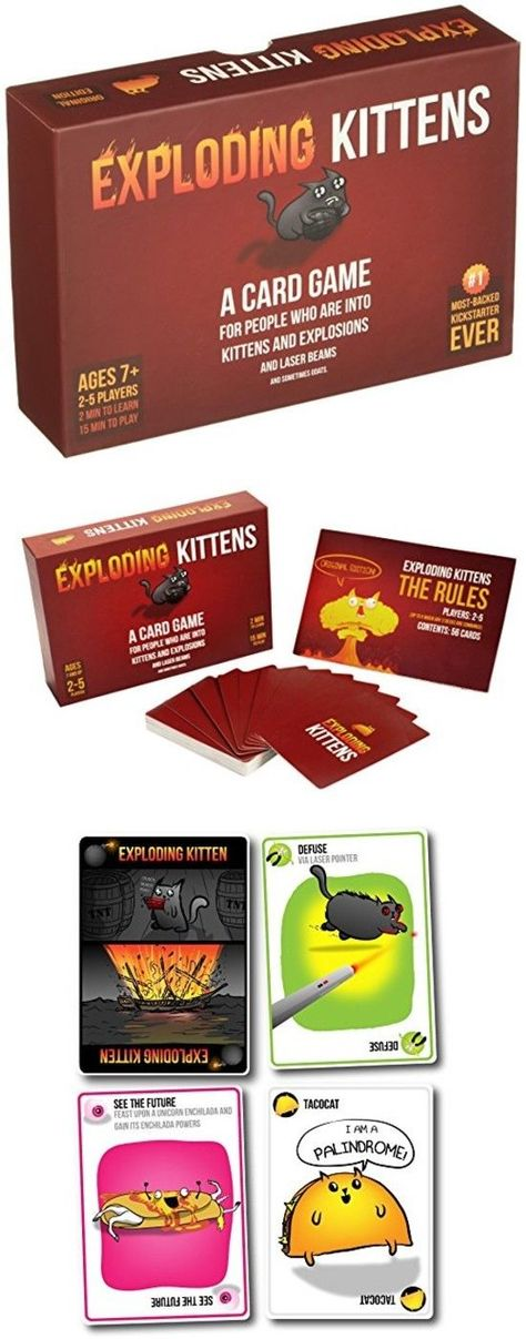 Games 233 Exploding Kittens Card Game Kitten Lovers Fun Game