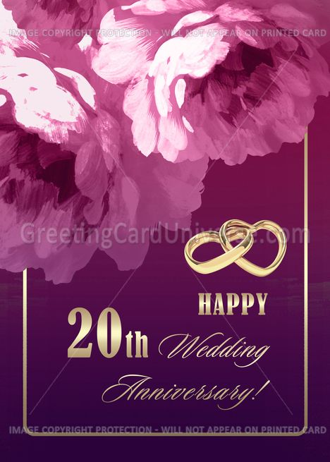 Happy 20th Wedding Anniversary Romantic Roses Card Ad Ad Wedding Happy Annive In 2020 60 Wedding Anniversary 10th Wedding Anniversary 20 Wedding Anniversary