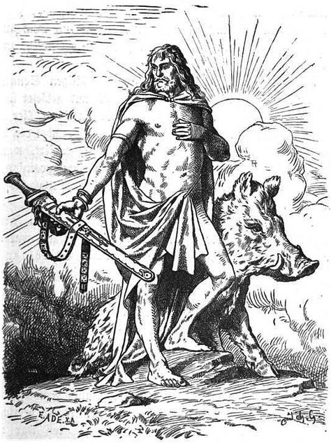 "Freyr or Frey, from *frawjaz ""lord"" is one of the most important gods of Norse paganism. Freyr was associated with sacral kingship, virility and prosperity, with sunshine and fair weather, and was pictured as a phallic fertility god, Freyr ""bestows peace and pleasure on mortals""."