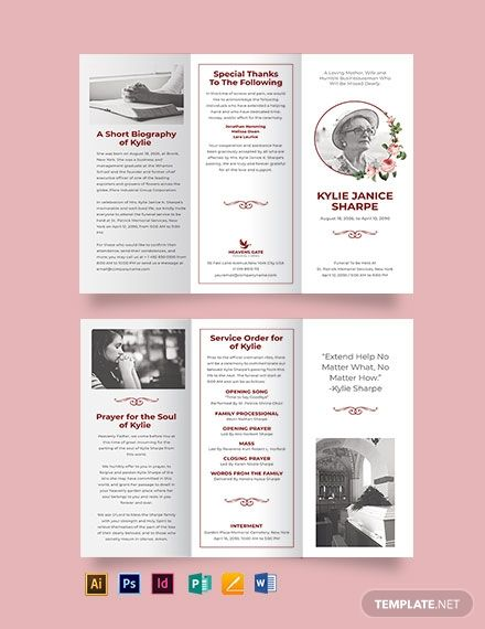 Because We Know How Tough It Is To Create Or Design A Eulogy Funeral Brochure During The Sorrowful Trifold Brochure Trifold Brochure Template Brochure Template