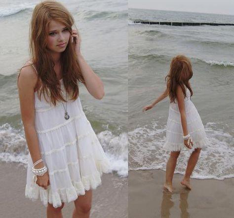 White Beach Dresses for Girls