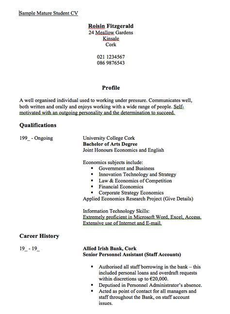 Sample Mature Studen CV Resume - http\/\/resumesdesign\/sample - salon manager resume