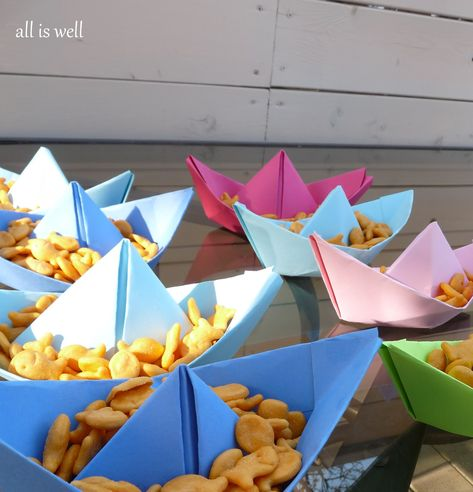 Pirate party snack bowls. If these float they can be a 2 in one, once they finish their snack sail the ship!