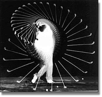 Photographie de la décomposition du mouvement d'un joueur de golf.  Harold Edgerton