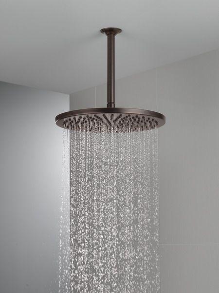 Single Setting Metal Raincan Shower Head 52158 Rb25 Delta Faucet Raincan Shower Ceiling Shower Head Delta Faucets